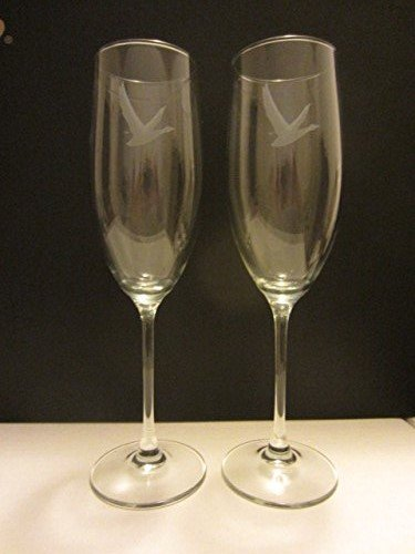 Set of 2 Grey Goose Premium Vodka France Champagne Flutes Cocktail Martini Glasses by VODKA