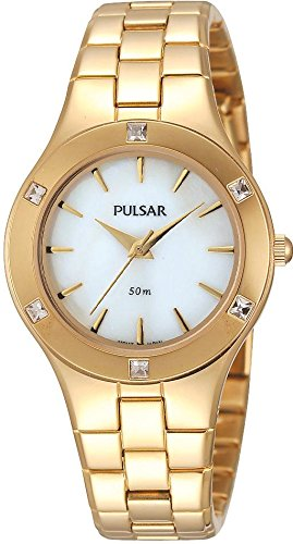 Pulsar PH8048 Gold Plated Mother Of Dial Stone Set Bracelet Watch by Pulsar