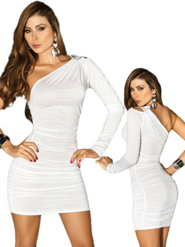 Sexy White One Shoulder Long Sleeve Mini Dress