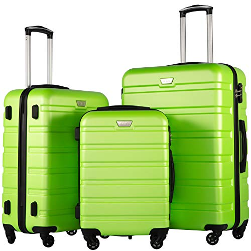 COOLIFE Luggage 3 Piece Set Suitcase Spinner Hardshell Lightweight TSA Lock (Apple green2) ()