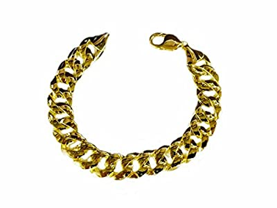 "14K Solid Yellow Gold Heavy Handmade Curb Link Mens Bracelet 13.7Mm 8.5""-9"" by JEWELTEX"