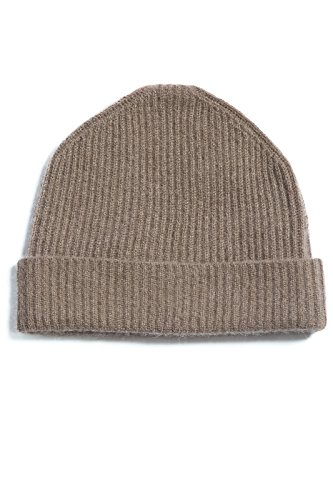 (Fishers Finery Men's 100% Cashmere Ribbed Hat; Cuffed; Super Soft (Cappuccino),One Size Fits Most)
