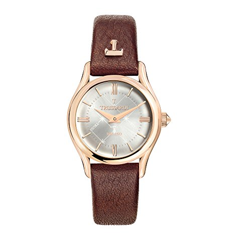 TRUSSARDI Women's T-Light Stainless Steel Analog-Quartz Leather Strap, Brown, 16 Casual Watch (Model: R2451127501) ()