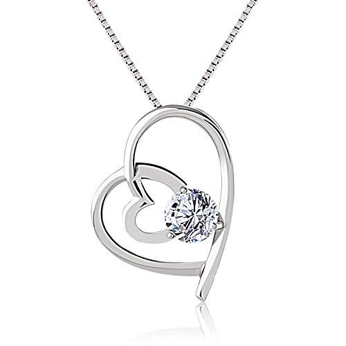 J.Rosée Kette Damen Halskette mit 2 Herz Anhänger 925 Sterling Silber Zirkonia 45cm, Schmuck mit Etui ( Weiß)