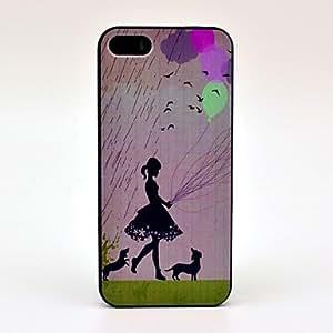 ZXM-Muchacha de la lluvia y el patrón de los perros del estuche rígido para el iPhone 5/5S