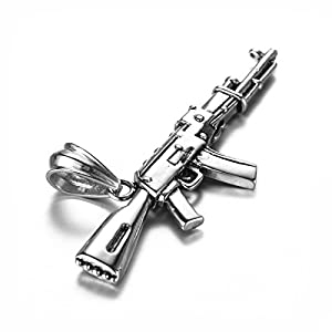 LUZO Mens Hip Hop Titanium Stainless Steel AK-47 Gun Pendant Rifle Necklace , 24 inch Chain