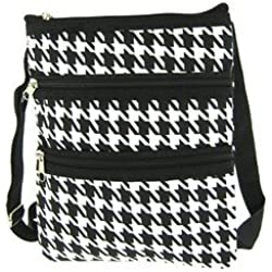 World Traveler Houndstooth Cross Body Bag, Black and White