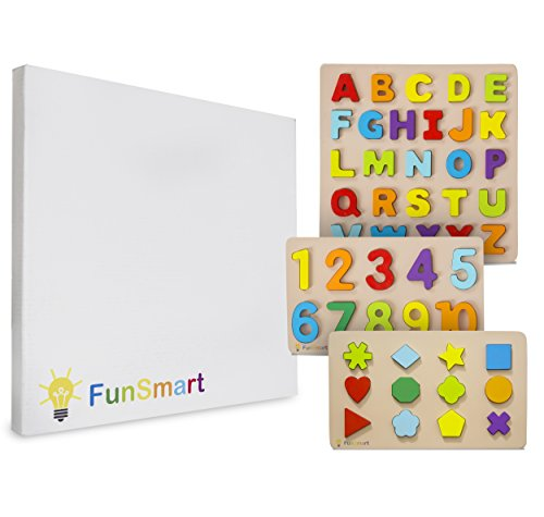 FUNSMART Wooden Puzzle 3-pack Alphabet Numbers and Shapes. Great gift for toddlers and kids.