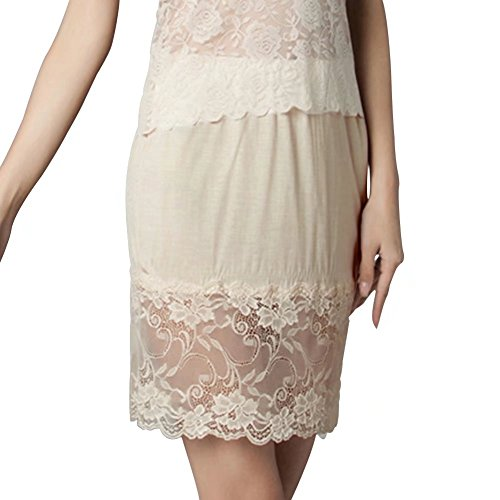 (Pure Nature Silk Knitted Tailored Lace Half Slips Underskirt Ultra Thin Breathable and Anti-Static(16.5 inch))