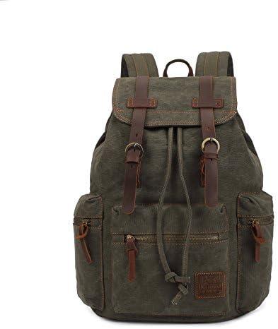 KaLeido Vintage Canvas Leather Backpack Rucksack Casual Daypacks Navy Green