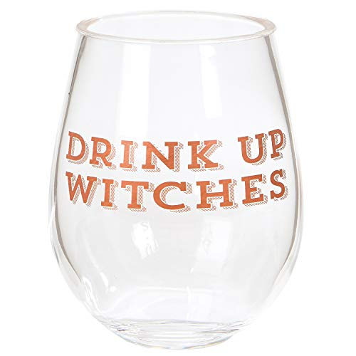 Glass Cactus Halloween (C.R. Gibson ''Drink Up Witches'' Acrylic Stemless Wine Glass, 12)