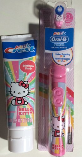 HELLO KITTY Battery Toothbrush + Crest Hello Kitty Bubble Gum Flavored Toothpaste