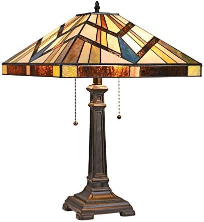 Capulina Tiffany Table Light, 2 Light Tiffany Style Table Lamp, Stained Glass Table Lamp, 16 Inches Wide Tiffany Style Desk Lamp, Mission Style Tiffany Glass Table lamp for Living Room, Bedroom