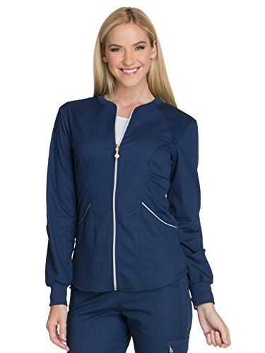 Cherokee Women's Luxe Sport Zip Front Warm-up Jacket, Navy, L -