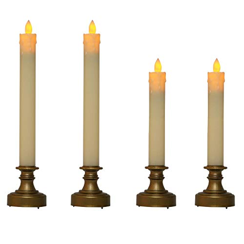 (QILICHZ Realistic Battery Operated flameless led Candle Light Flickering Bulb with Tear Drips Wax,Antique Brass Candlestick for Vintage Wedding,Christmas Table centerpieces Set of 4)