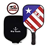 Big Teeth Pickleball Paddle Racket Graphite Honeycomb Composite Core Carbon Fiber Face Lightweight with Neoprene Racquet Cover for Players of All Levels (USA Flag)