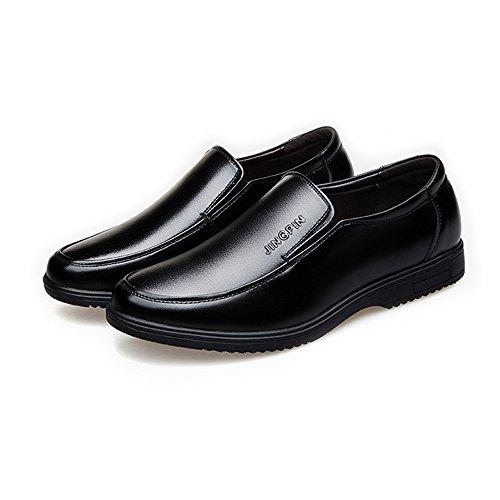 Slip Casual Sole Soft Flats Uomo for PU Business Leather da Mocassini Gentlemen Nero on ZX Oxfords Scarpe 5w1Cqx8
