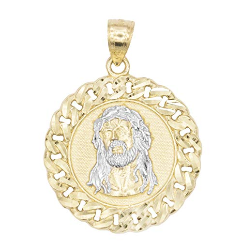 (Ice on Fire Jewelry 10k Solid Two Tone White and Yellow Gold Jesus Head Pendant, Diamond Cut Finish Religious Prayer Medal)