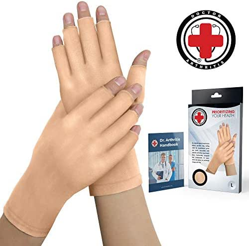 Doctor Developed Nude Arthritis Gloves/Skin Gloves and Doctor Written Handbook - Soft with Mild Compression, for Arthritis, Raynauds Disease & Carpal Tunnel (Open-fingertips, Small)