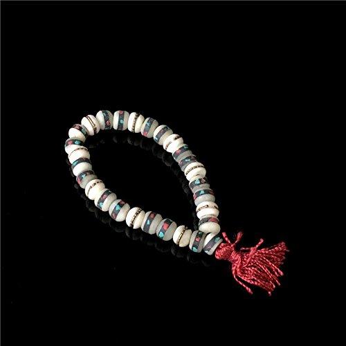 Tibetan yak bone bracelet handmade inlaid stone bracelet Tibetan ethnic characteristics of the - Handmade Yak Bone Tibetan