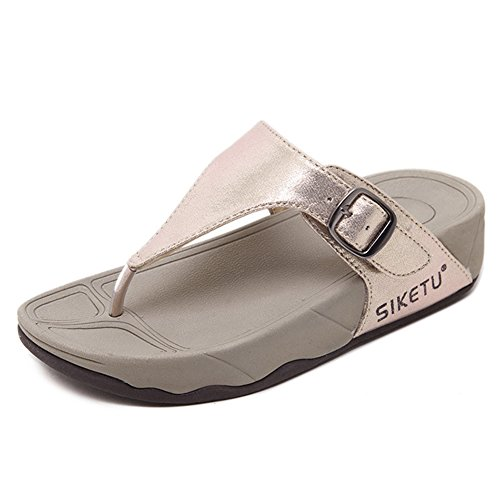 Btrada Flip Thong Fashion Golden Flats Flop Anti Slip Buckle Sandal Womens Shoes rITrqR4