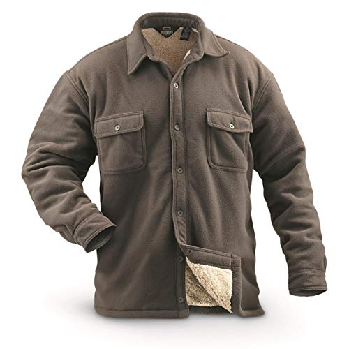- Guide Gear Mens Sherpa Lined Fleece CPO Shirt, Taupe, XL