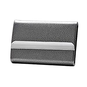TT WARE PU Stainless Steel Card Holder Portable Credit Card Case ID Card Storage Box-Grey