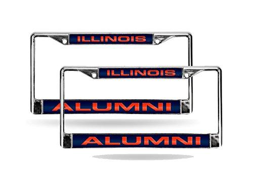 Rico Illinois Illini NCAA Alumni Chrome Metal (2) Laser Cut License Plate Frame Set