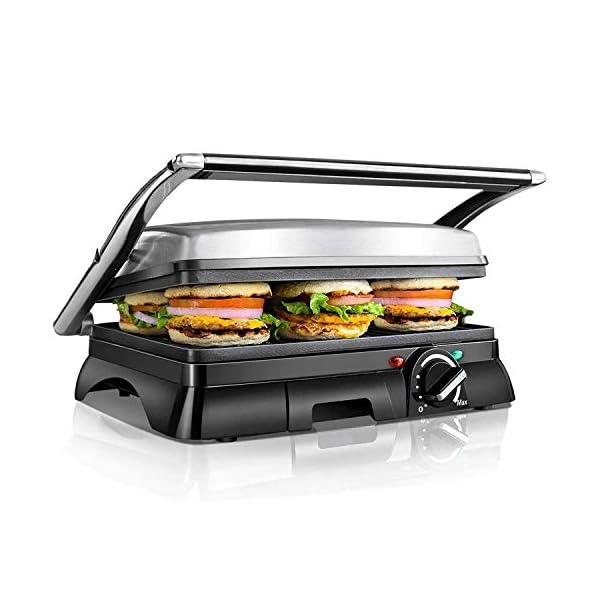 Aigostar Samson - Griglia multifunzione per panini maker da 2000W con 2 piani di cottura 29.5 * 23.5cm. Temperatura… 1