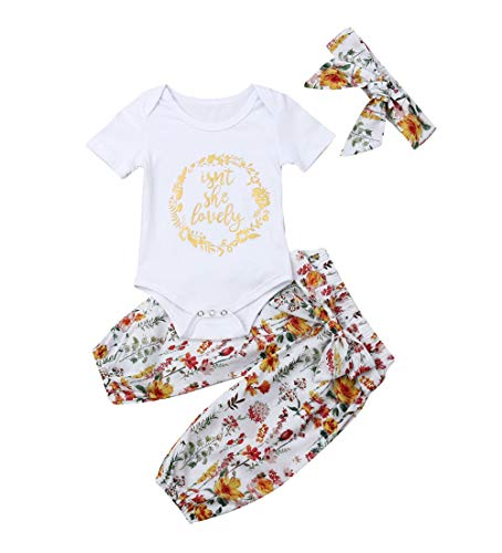 Isnt She Lovely 0-18M Infant Newborn Baby Girl Short Sleeve Cotton Bodysuit Tops Floral Pant Headband (12-18 Months, Style -