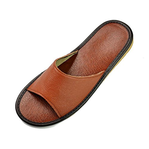 Indoor Sandals Non Sole Flat Men's Slippers slip Coffee HUPLUE Leather Shoes Soft Women's Summer 5qFwcH
