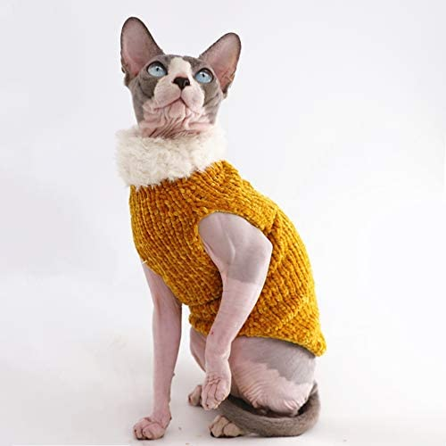 Sphynx Cat Clothes Winter Warm Faux Fur Sweater Outfit, Fashion high Collar Coat for Cats Pajamas for Cats and Small Dogs Apparel, Hairless cat Shirts Sweaters (XL (9.9-13.2 lbs), Ginger) 18
