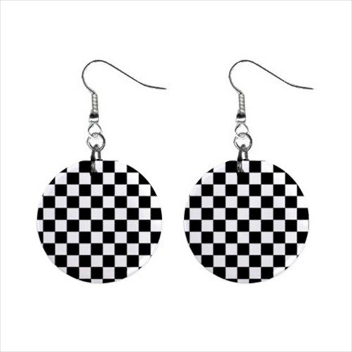 (Car Race Checkered Flag Dangle Earrings Jewelry 1 Inch Metal Buttons 13176528)