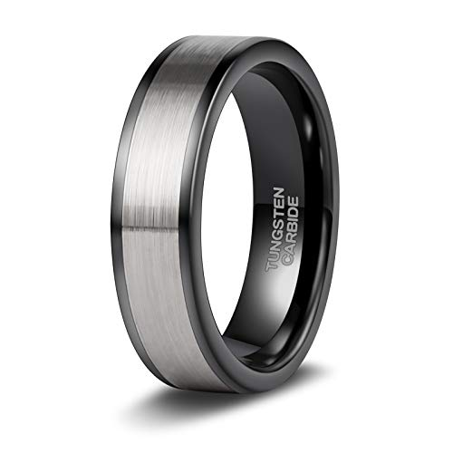 TRUMIUM 6mm anillo de boda de tungsteno mate cepillado negro / plata anillo de compromiso clásico plano para hombres mujeres ajuste cómodo tamaño 4-15