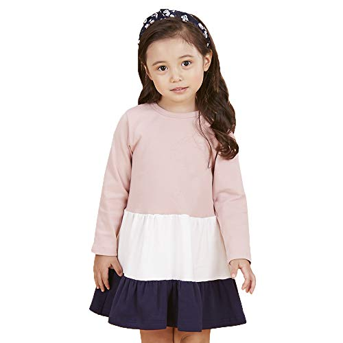 SenseFit Kids Little Girls Casual Cutie Toddler Long Sleeve Button Vintage Pleated Dresses for Kids 3~8 Years