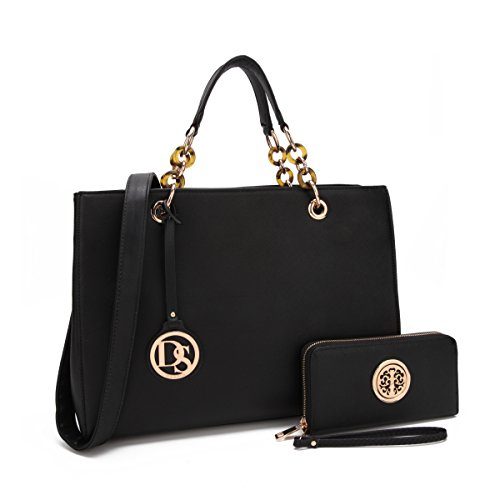 MKP Vintage Soft Briecase for Women, Designer Satchel w/Chain Strap & Free Wallet Medium Lady Tote 02-2526 Black