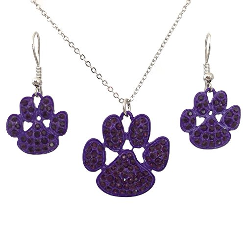(Purple Paw Print Rhinestone School Spirit Silver Tone Necklace Dangle Earrings Set)