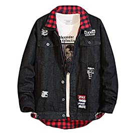 FGDJEE Mens Denim Plaid Jacket Bomber Coat Parka Patchwork Cowboy Western Vintage Casual Outwear New Winter 2019 Clothing