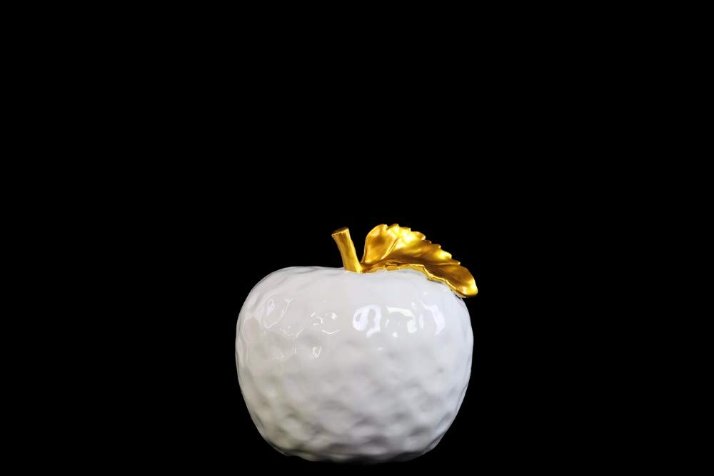 Benzara BM180452 Ceramic Apple Figurine, White and Gold