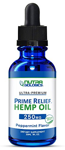 Prime Relief Hemp Oil (Peppermint, 250 MG)  Help for Pain, Anxiety, Stress, Mood, and Sleep with great tasting organic hemp extract drops