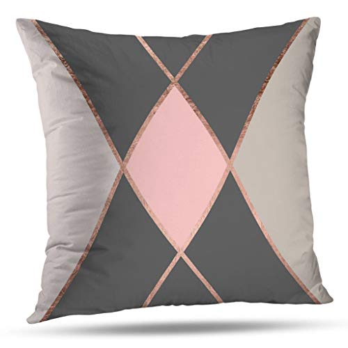 Pakaku Throw Pillows Covers for Couch/Bed 20 x 20 inch,Modern Pink Gray Color Block Rose Gold Stripes Home Sofa Cushion Cover Pillowcase Gift Decorative Hidden Zipper Design Cotton and - Gray Gold Stripe