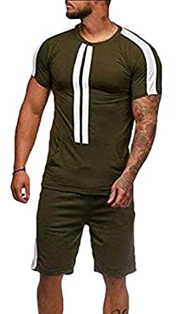 Men Sport Set Summer Casual Short Sleeve Tops Short Pants Fit Tracksuit Outfits Army Green XS