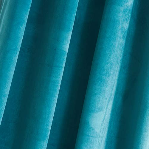 """Roslywood Living Room Blackout Velvet Curtains - Super Soft Dutch Velvet Grommet Drapes Sound Reducing Heavy Solid Panels (Set of 2, 96"""" Length, Enamel Blue)"""