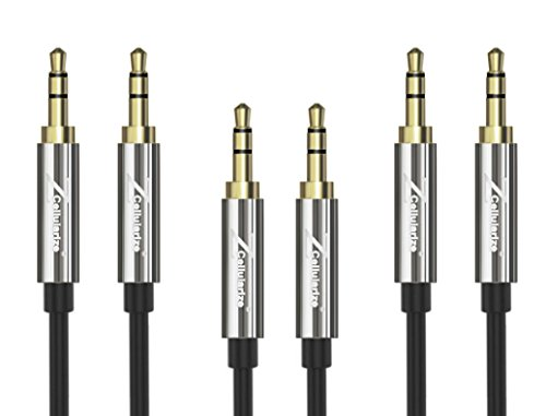 AUX Cable [3-Pack 4ft/1.2M - 24K Gold Plated, Hi-Fi Sound Quality] Cellularize 3.5mm Audio Cable / Auxiliary Cable / Aux Cord for Car Stereos, Beats Series, Sony Series, iPod, iPhone