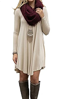 Roseate Women's Stretchy Long Sleeve Casual Loose Tunic Dress