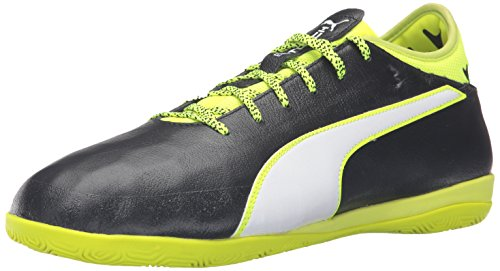 PUMA Men's Evotouch 2 IT Soccer Shoe, Black/White/Safety Yellow/Grey, 11 M US
