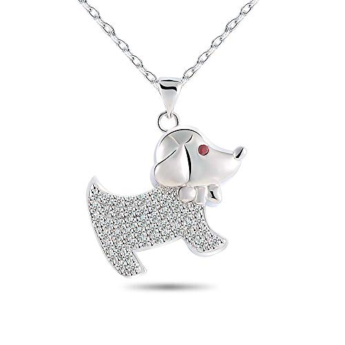 (Bala Cute Dog Puppy Animal Necklaces for Little Girls Charms Pendant Pave Circle Necklace Silver Adjustable Chain)