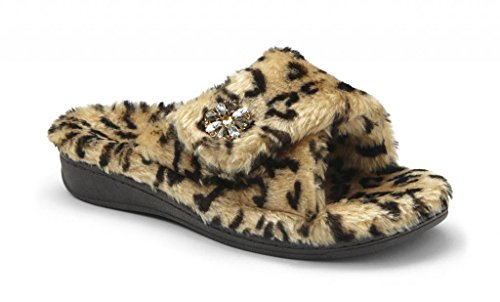 Orthaheel Vionic With Orthaheel Technology Women's Relax Luxe Slipper Tan Leopard Fabric Size 11 Medium