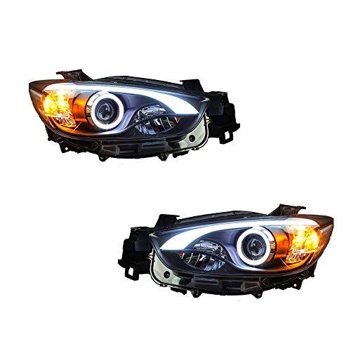 2PCS Headlight Assemblies For Mazda CX-5 2013-2015 Bi-Xenon Lens Projector Double Beam Xenon HID KIT With LED Daytime Running - Assembly Xenon Bi