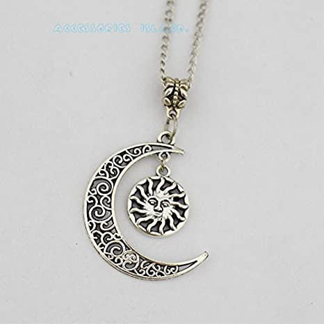 Amazon silver sun and moon necklace fashion necklace silver silver sun and moon necklace fashion necklace silver sun and moon necklace fashion necklace celestial necklace mozeypictures Images